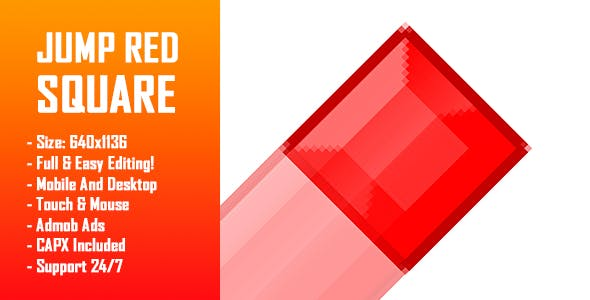 Jump Red Square - HTML5 Game + Mobile Version! (Construct-2 CAPX)