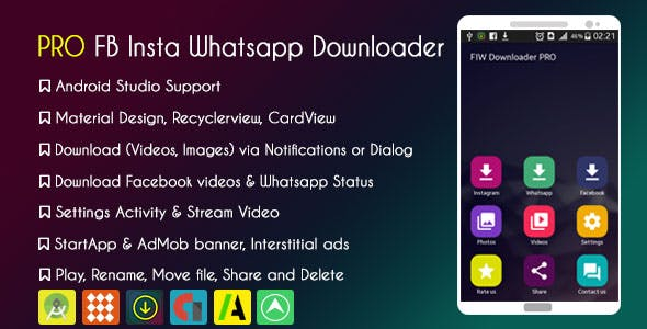 PRO Facebook Instagram Whatsapp Status Downloader with AdMob and StartApp & GDPR
