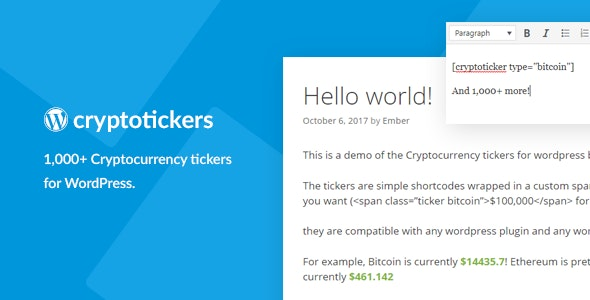 Cryptocurrency Tickers - 1,000+ Crypto Price Tickers for WordPress - CodeCanyon Item for Sale