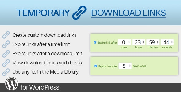 Temporary Download Links for WordPress - CodeCanyon Item for Sale