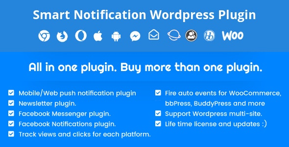 Smart Notification Wordpress Plugin. Web & Mobile Push, FB Messenger, FB Notifications & Newsletter. - CodeCanyon Item for Sale