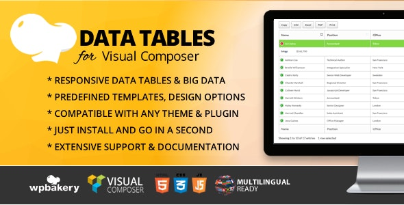 Data Tables Addon for WPBakery Page Builder (formerly Visual Composer) - CodeCanyon Item for Sale