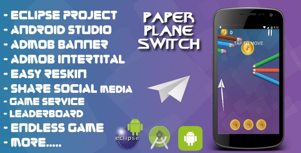 Paper Plane Switch - Android studio & Eclipse + Admob Ads + Endless + LeaderBoard + Share +Review - CodeCanyon Item for Sale