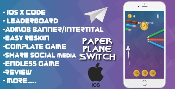 Paper Plane Switch - XCODE + Admob + Complete Game + Review + Share + Endless Game