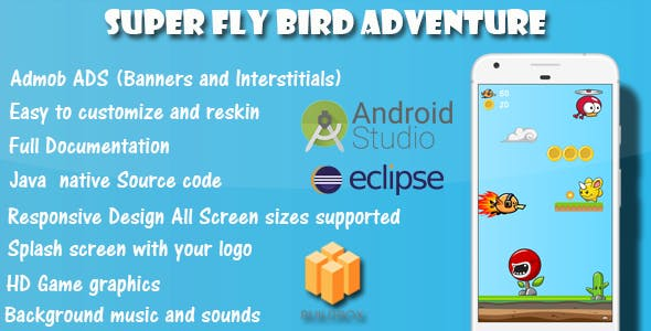 Super Fly Bird Adventure - Game Template Android With Admob Ads (Buildbox + Android Studio +Eclipse)