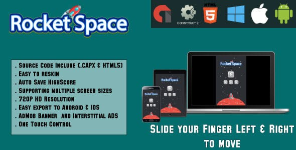 Rocket Space - HTML5 Game - Mobile Game + AdMob (CAPX + HTML5)