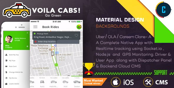 Taxi Booking Script - A Complete Clone of UBER with User,Driver & Backend CMS Coded with Native iOS