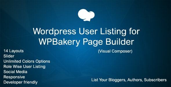 Wordpress Users Addon for WPBakery Page Builder (Visual Composer) - CodeCanyon Item for Sale