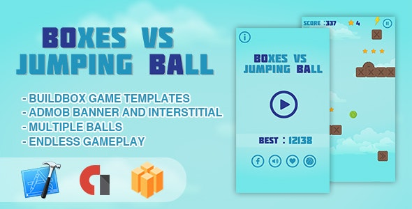 Boxes vs Jumping Ball - IOS XCODE Source + Buildbox Template by