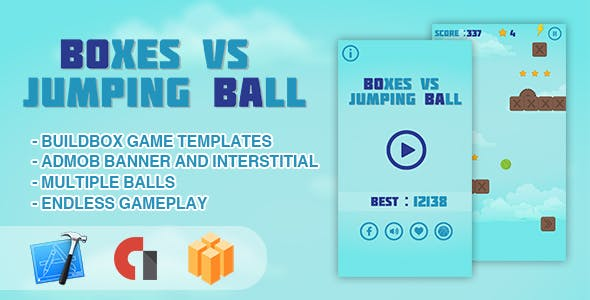 Boxes vs Jumping Ball - IOS XCODE Source + Buildbox Template
