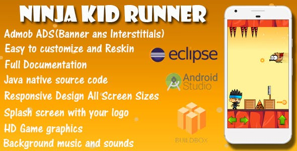 Ninja Kid Runner - Game Template Android & IOS With Admob Ads (Buildbox + Android Studio + Eclipse)