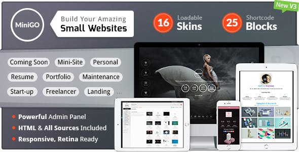MiniGO - Luxury Mini Site Multi-Purpose Placeholder WP Plugin
