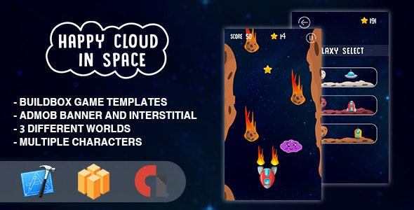 Happy Cloud In The Space - IOS XCODE Source + Buildbox Template - CodeCanyon Item for Sale