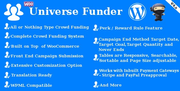 Universe Funder - WooCommerce Crowdfunding System