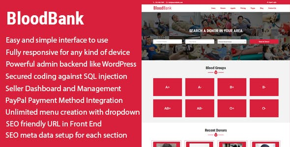 BloodBank - Blood Donor Directory CMS with PayPal Integration