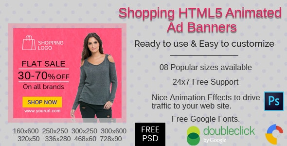 Shopping(V-2) - HTML5 Ad Banners - 08 Sizes - CodeCanyon Item for Sale