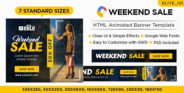E-Commerce Banners - HTML5 (Elite-CC121)