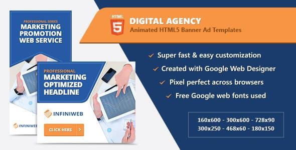 HTML5 Animated Banner Ads - Digital Agency (GWD)