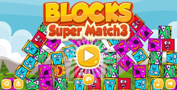 Blocks Super Match3 - HTML5 Game + Android (Construct 3 | Construct 2 | Capx)