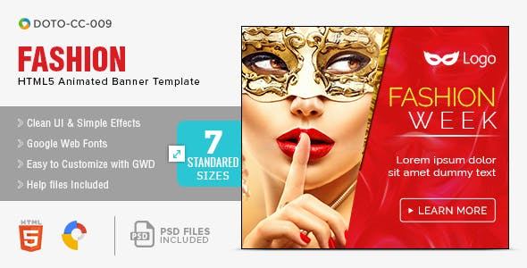 Fashion & E-Commerce HTML5 Banners - 7 Sizes