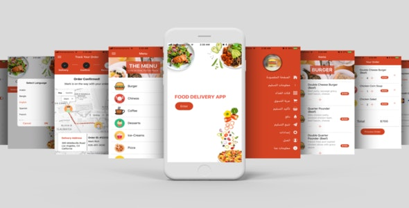 Restaurant Food Delivery Template UI App Supports Multiple
