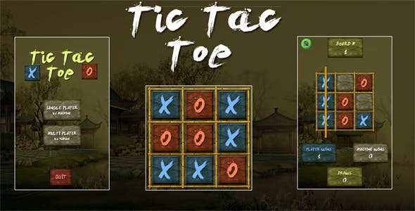 Tic Tac Toe Ninja Unity3D Project + Android iOS Support + ADMOB + Ready to Release