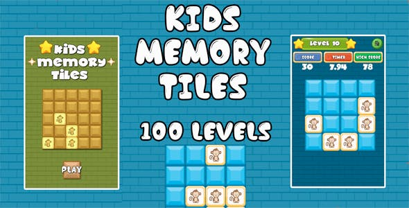 Kids Memory Tiles Unity3D Project + Android iOS Support + ADMOB + Ready to Release