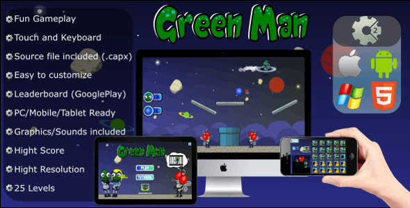 Green Man - Physics Game (.CAPX - Mobile and HTML5)