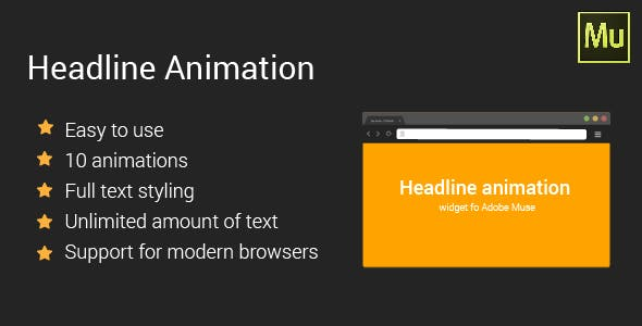 Headline animation | Adobe Muse Widget