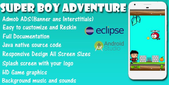 Super Boy Adventure - Game Template Android With Admob Ads (Android Studio + Eclipse)