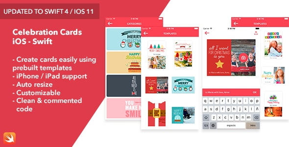 Celebration Cards - iOS Swift App - CodeCanyon Item for Sale