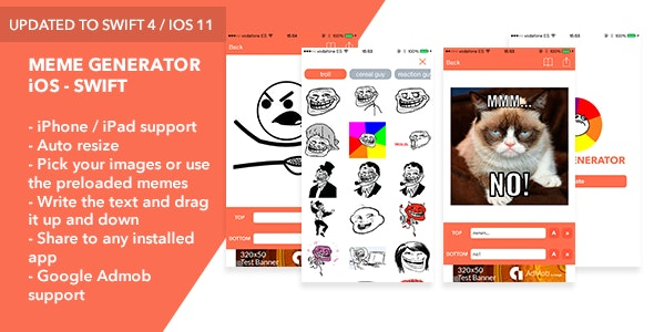 Meme Generator iOS Swift App - CodeCanyon Item for Sale