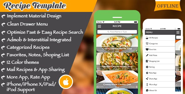 Make A Recipe App With Mobile App Templates from CodeCanyon