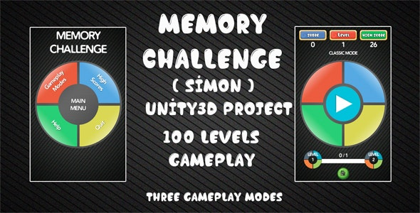 Memory Challenge Simon Unity3D Source Code + Android iOS Supported + Ready to Release + Admob - CodeCanyon Item for Sale