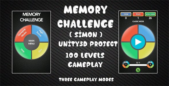 Memory Challenge Simon Unity3D Source Code + Android iOS Supported + Ready to Release + Admob