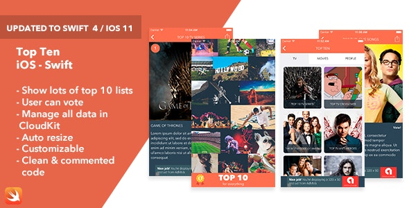Top Ten - iOS Swift App - CodeCanyon Item for Sale