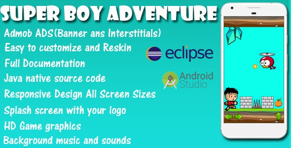 Super Boy Adventure - Game Template Android & IOS With Admob (Buildbox + Android Studio + Eclipse) - CodeCanyon Item for Sale