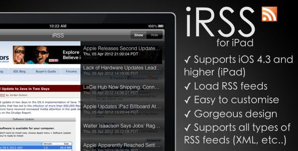 iRSS - for iPad - A simple RSS Reader