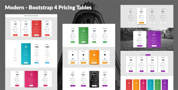 Modern - Bootstrap 4 Pricing Tables