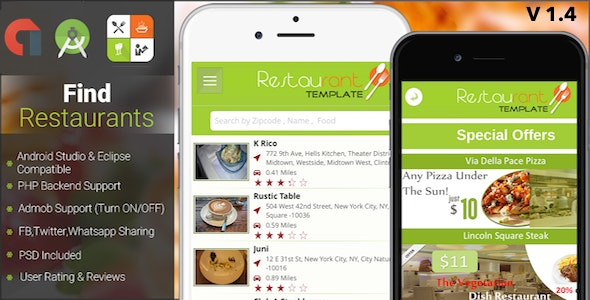 Restaurant Finder with backend Android Full App - CodeCanyon Item for Sale