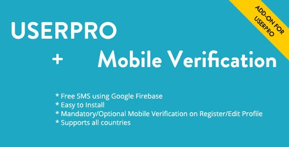 Free Mobile Verification Addon for UserPro