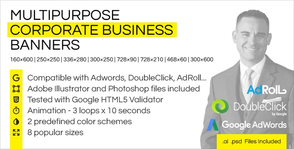 Multipurpose Corporate Business HTML5 Banner Ads (GWD) - CodeCanyon Item for Sale