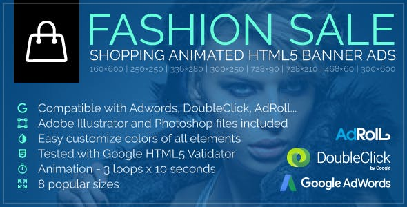 Fashion Sale - Shopping Animated Google HTML5 Banner Ads (GWD)