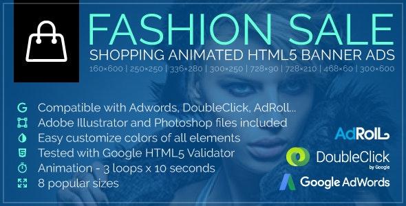 Fashion Sale - Shopping Animated Google HTML5 Banner Ads