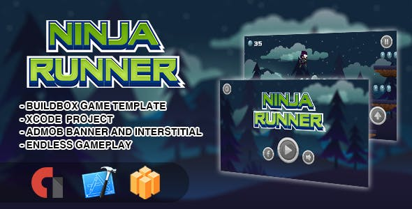 Ninja Runner - IOS XCODE Source + Buildbox Template
