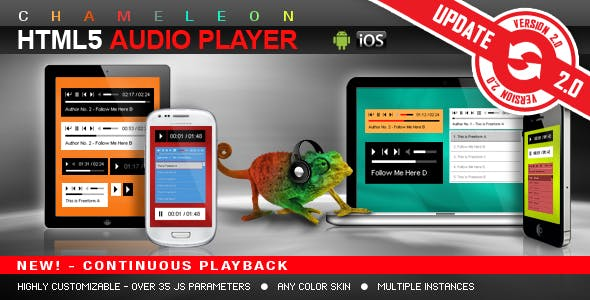 Chameleon HTML5 Audio Player With/Without Playlist        Nulled