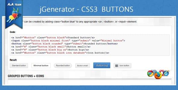 jGenerator - CSS3 Buttons