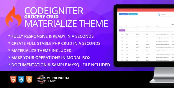 CodeIgniter Grocery CRUD Materialize Theme - CodeCanyon Item for Sale