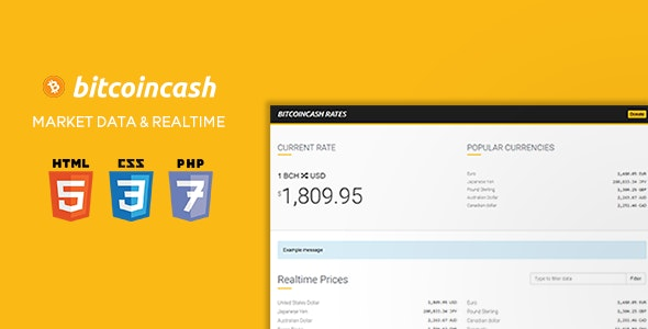 BitcoinCash Rates - Historical Market Data + 163 Currencies in Realtime - CodeCanyon Item for Sale