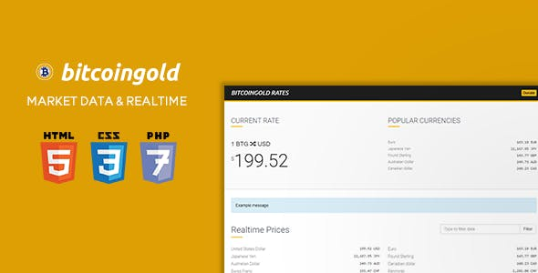 BitcoinGold Rates - Historical Market Data + 163 Currencies in Realtime - CodeCanyon Item for Sale